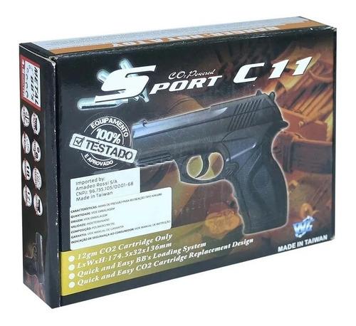 Pistola de Pressão Co2 Wingun C11 Steel BB 6,0mm Rossi
