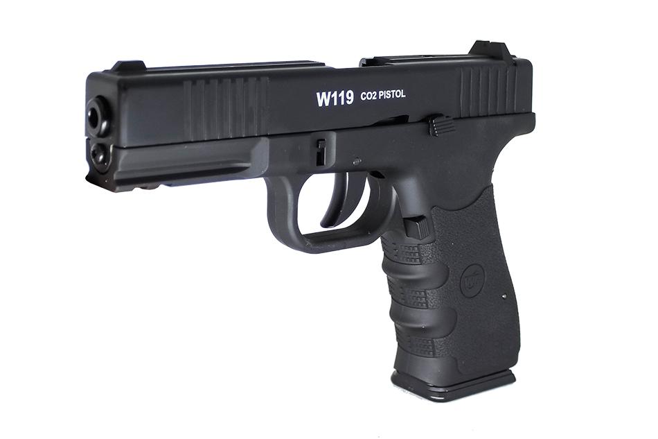 Pistola de Pressão de CO2 W119 SLIDE METAL BLOW BACK 4,5mm + Kit Brinde