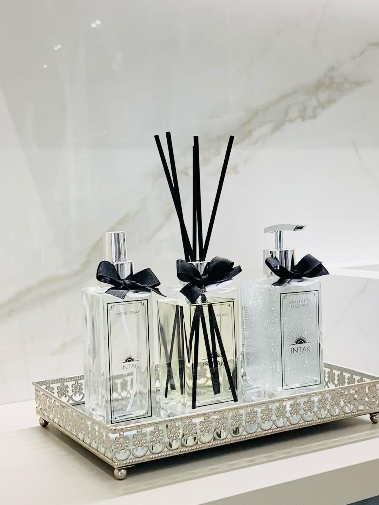 Kit Lavabo Bandeja Prata em Espelho M com Difusor 250ml - Chá Branco