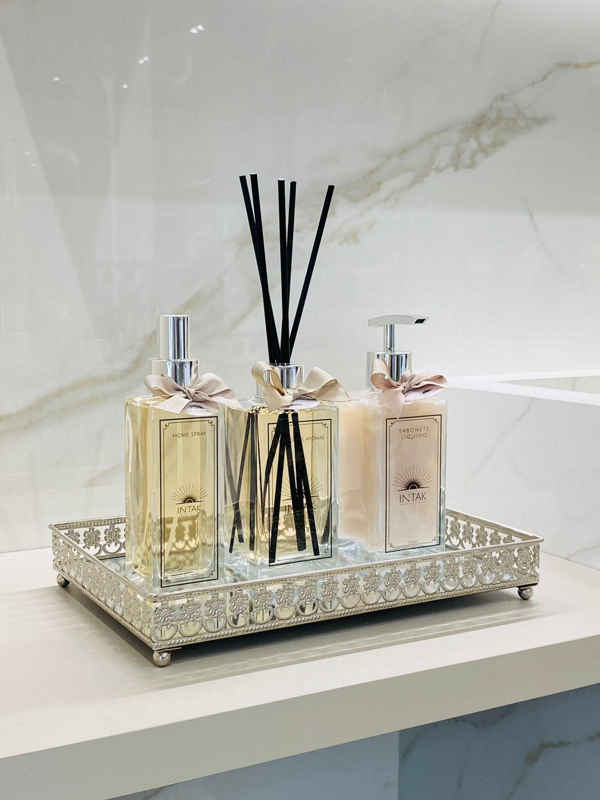 Kit Lavabo Bandeja Prata em Espelho M com Difusor 250ml - Vanilla