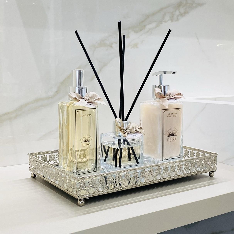 Kit Lavabo Bandeja Prata em Espelho M - Vanilla