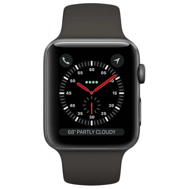 Apple Watch Série 3 GPS, 42 mm, Aço Inoxidável Cinza Espacial, Pulseira Esportiva Preto