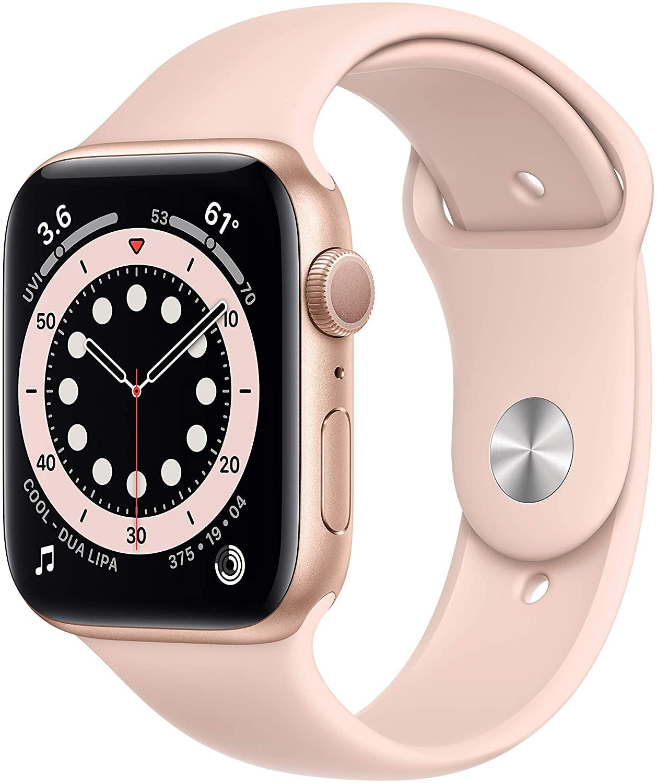 Apple Watch Series 6 Gold Aluminum Case Com Pink Sand Band 44mm  (GPS) (A2292)