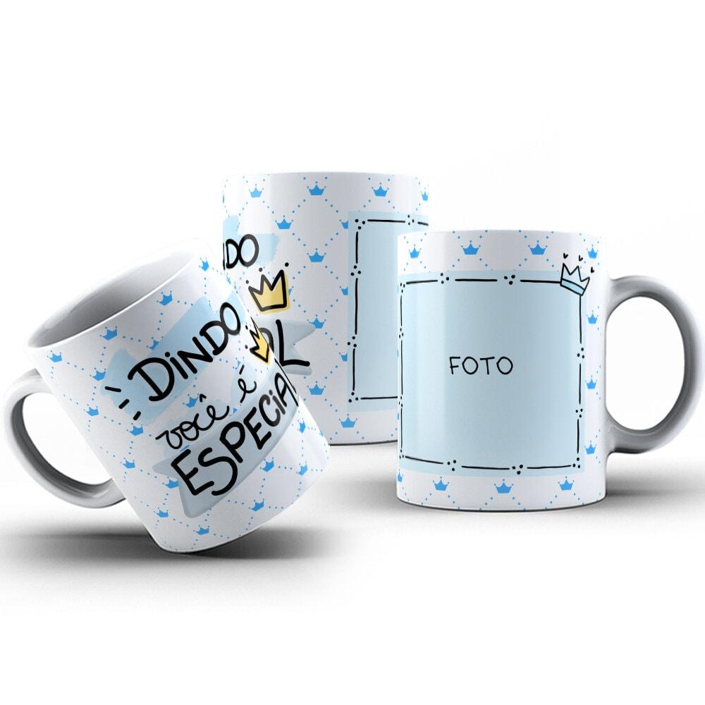 Canecas de Porcelana 325ml Personalizadas Dindo Você é Especial