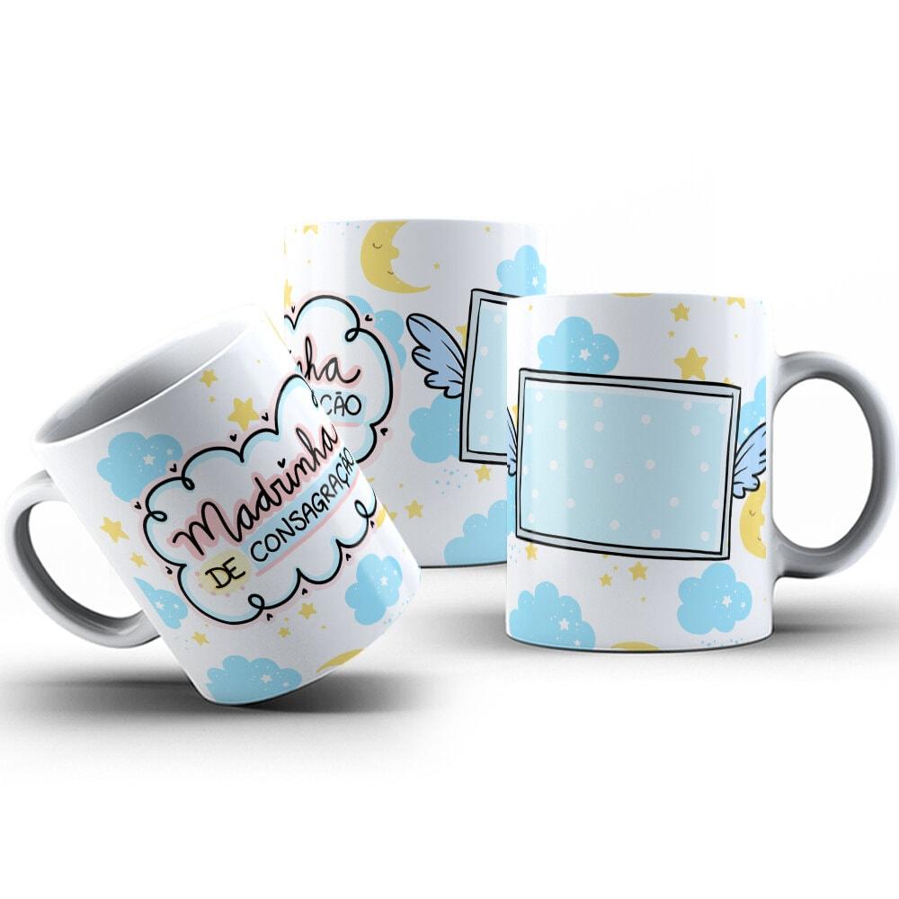 Canecas de Porcelana 325ml Personalizadas Madrinha de Consagração