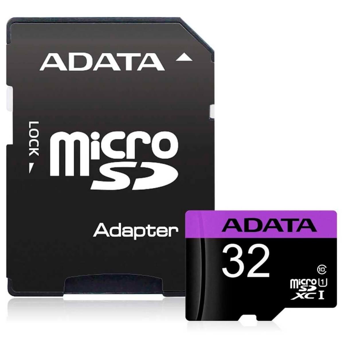 Cartão de Memória MicroSDHC 32 GB Classe 10 Com Adaptador - AUSDH32GUICL10A1-RA1 - Adata