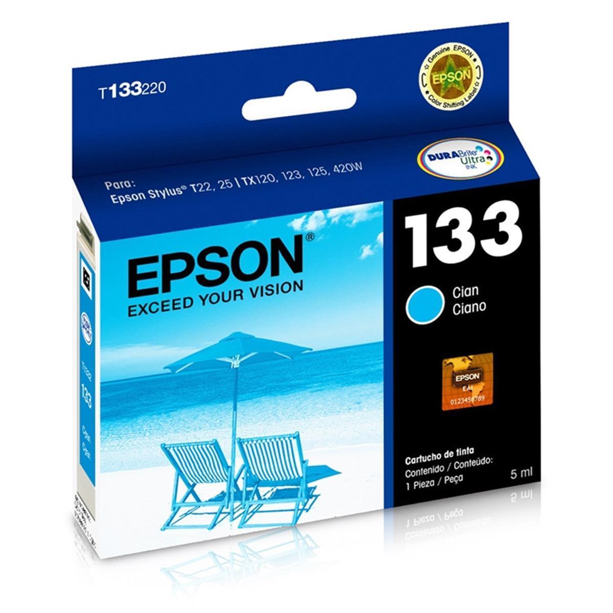 Cartucho de Tinta Epson 133 (T1332) Ciano 5ml
