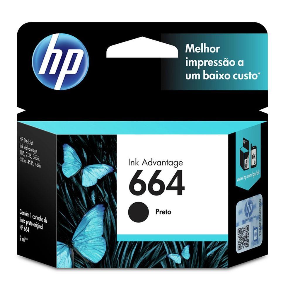 Cartucho de Tinta HP 664 (F6V29) Preto 2ml