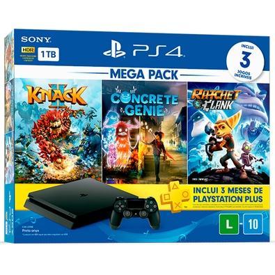 Console Sony PlayStation 4 1TB CUH-2214B Mega Pack V18 Hits Knack 2, Concrete Genie, Ratchet & Clank - Preto