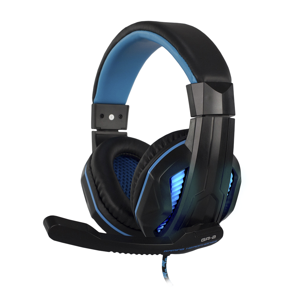 Headset Pro Gamer Stereo Ga-2 Preto e Azul Com Microfone - Hoopson