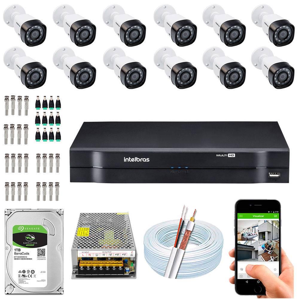 Kit Cftv Dvr + 12 Câmeras Vhd 1220 B G5 ( Com HD ) Intelbras
