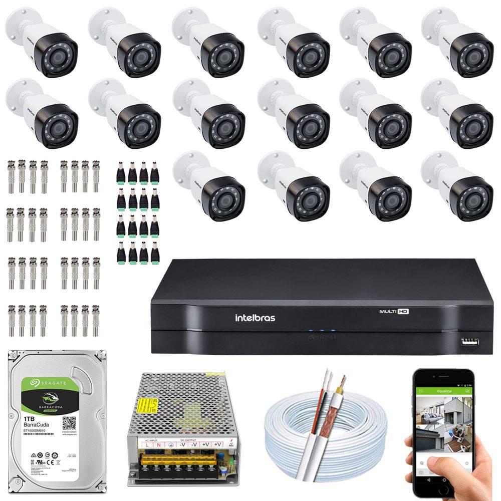 Kit Cftv Dvr + 16 Câmeras Vhd 1220 B G5 ( Com HD ) Intelbras