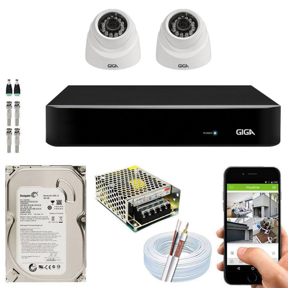 Kit Cftv Dvr + 2 Câmeras Dome 1080p ( Com HD Incluso )- Giga