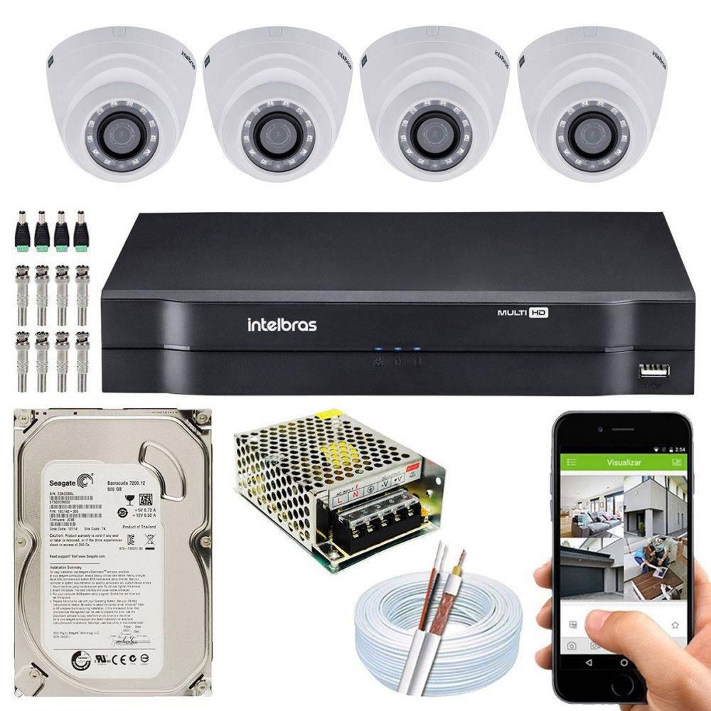 Kit Cftv Dvr + 4 Câmeras Vhd 1220 D G6 ( Com HD ) Intelbras