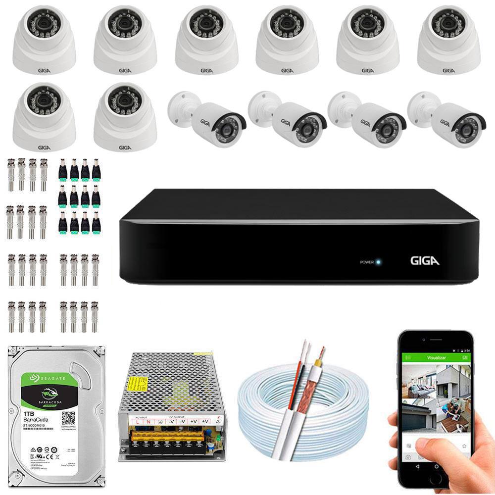 Kit Cftv Dvr Open HD + 12 Câmeras 1080p Interna e Externa ( Com HD Incluso ) - Giga