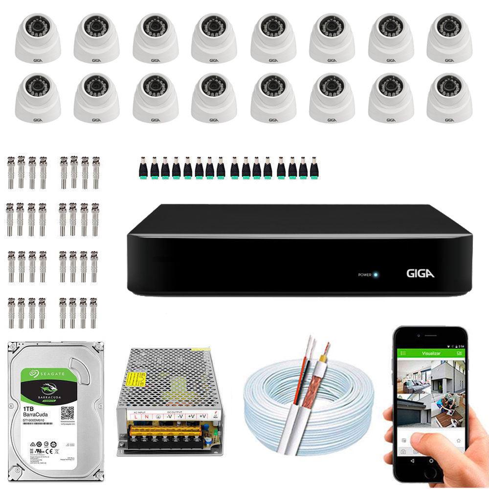 Kit Cftv Dvr Open HD + 16 Câmeras Dome 1080p ( Com HD Incluso ) - Giga