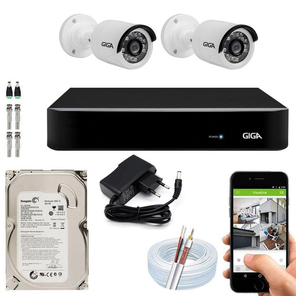 Kit Cftv Dvr Open HD + 2 Câmeras Bullet 1080p ( Com HD Incluso ) - Giga