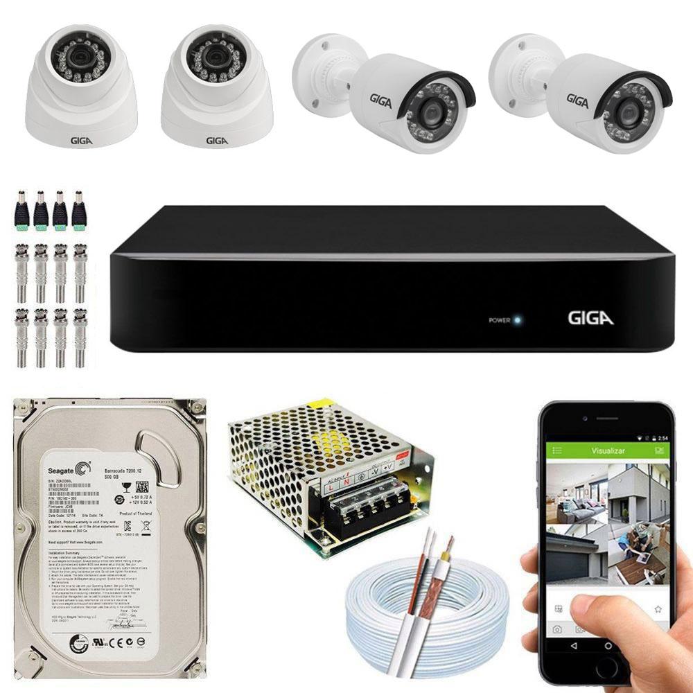 Kit Cftv Dvr Open HD + 4 Câmeras Ahd 720p Interna e Externa ( Com HD Incluso ) - Giga