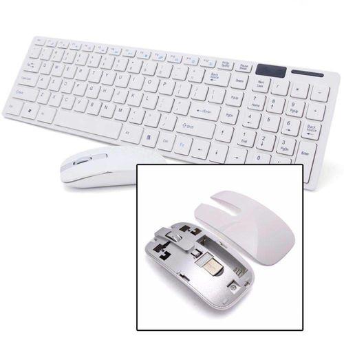 Kit Teclado E Mouse Sem Fio 2.4g Branco Jp-01 - Verde