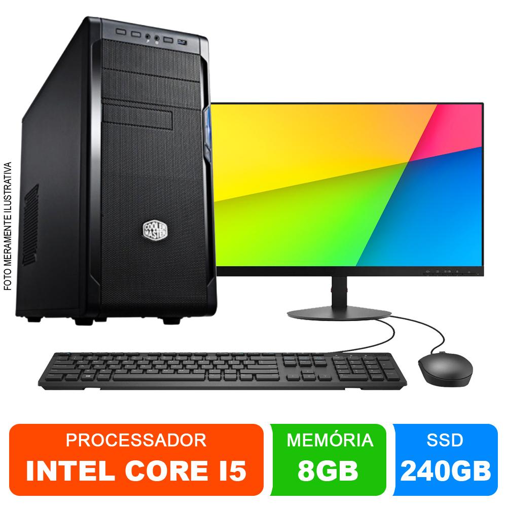 Microcomputador Completo Intel Core i5 3.0Ghz 8gb Ram HD 240GB SSD Monitor 18,5 Polegadas Teclado e Mouse