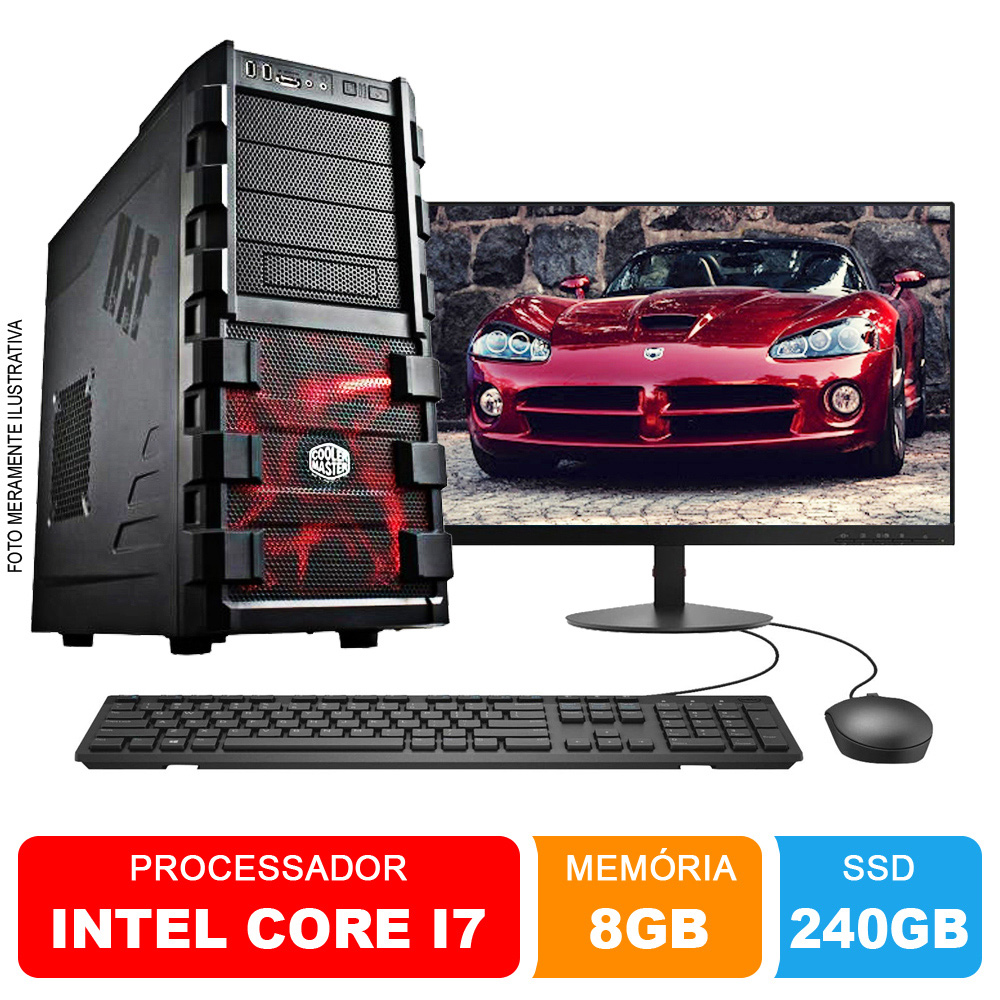 Microcomputador Completo Intel Core i7 3.9Ghz 8gb Ram HD 240GB SSD Monitor 18,5 Polegadas Teclado e Mouse