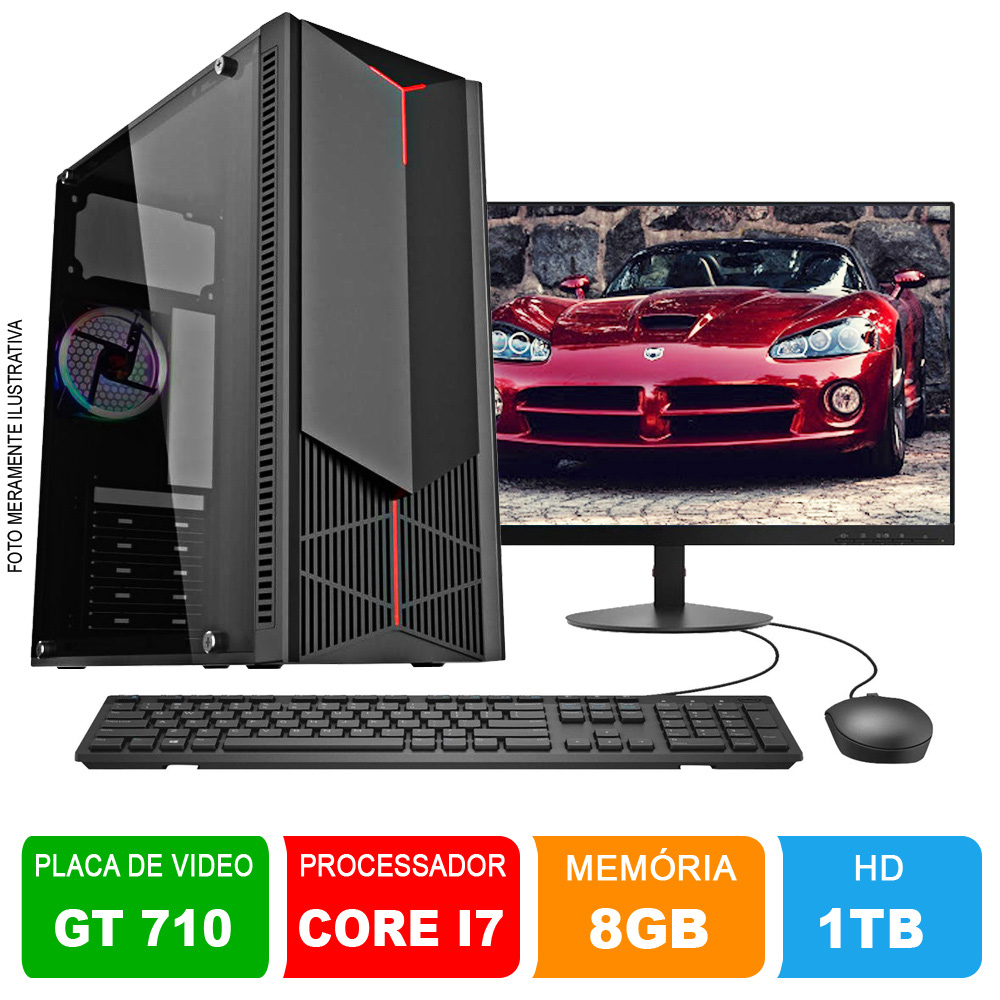 Microcomputador Gamer Completo Intel Core i7 3.9Ghz 8gb Ram HD 1TB Monitor 18,5 Polegadas Teclado e Mouse + Placa de vídeos GT710