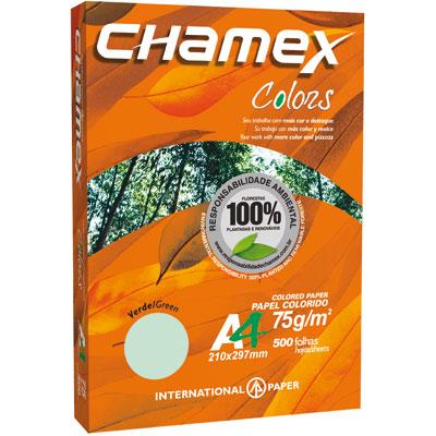 PAPEL CHAMEX COLOR VERDE  A4 c/ 500fls.