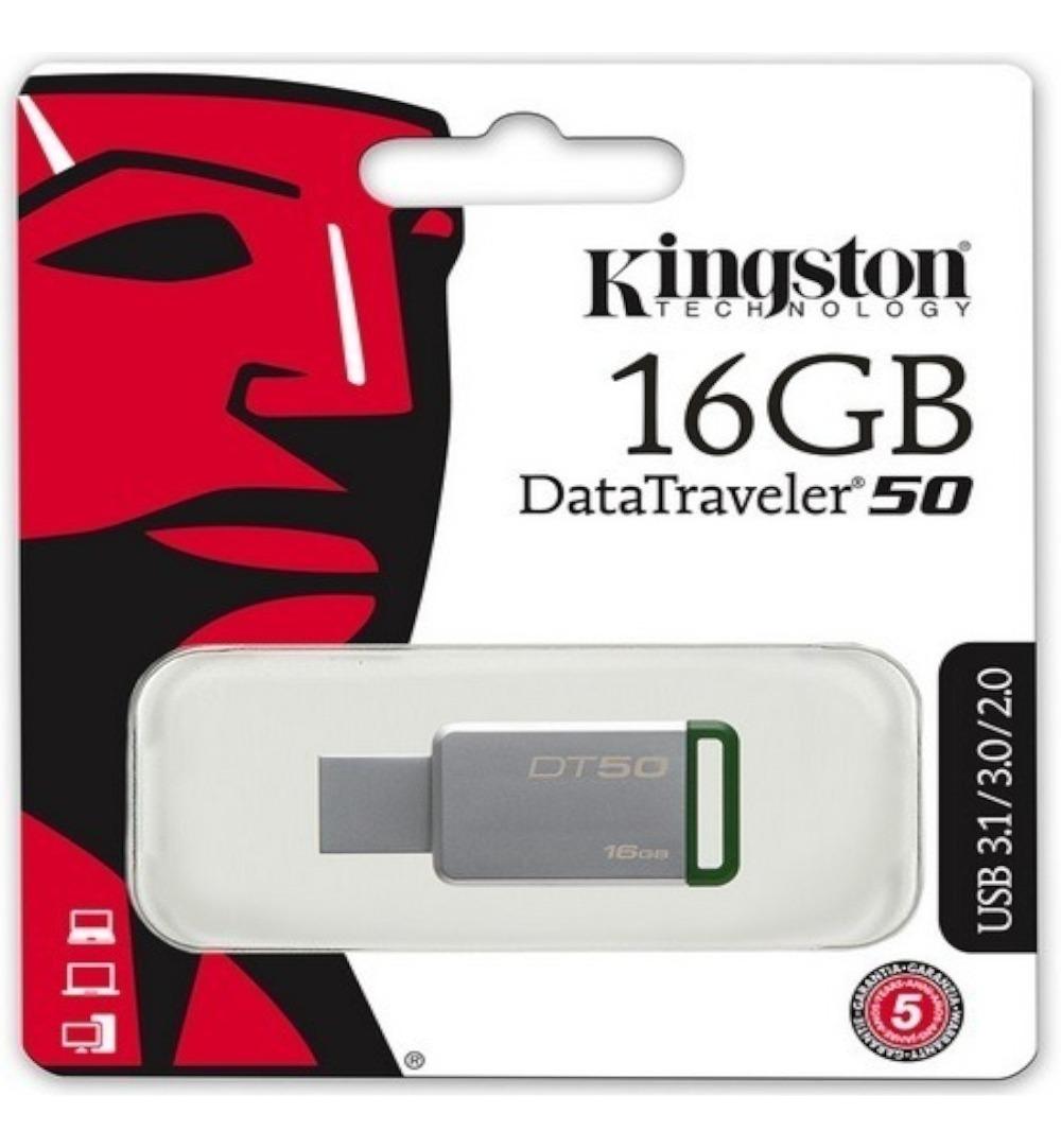 Pen Drive 16GB 3.1/3.0/2.0 USB DataTraveler 50 Prata - Kingston