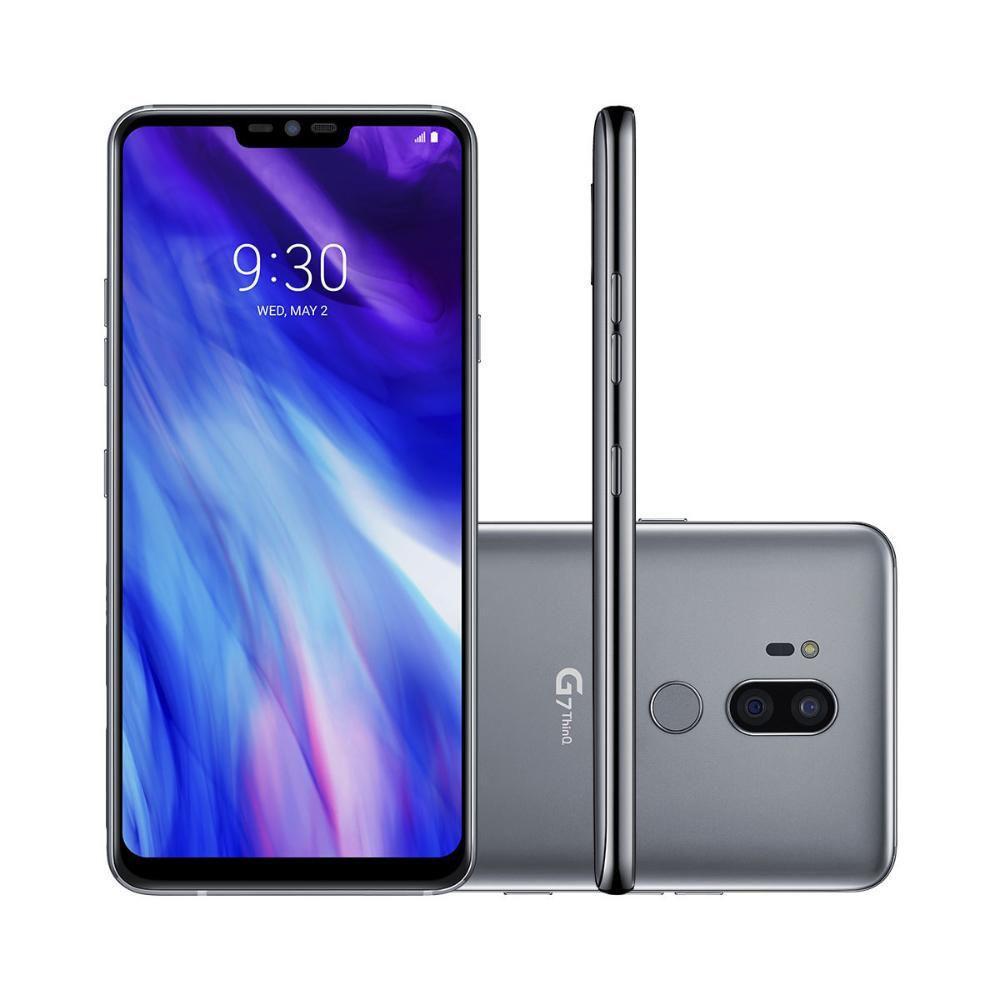 Smartphone G7 ThinQ 64GB Prata Platinum 4G Octa Core - 4GB RAM Tela 6,1? Câm. Dupla + Câm. Selfie 8MP - LG