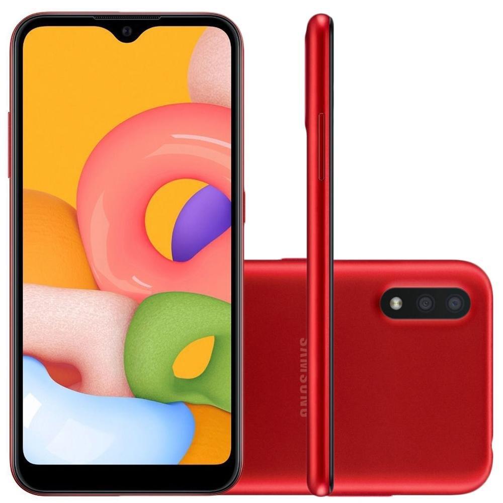 Smartphone Galaxy A01 32gb Tela Infinita 5,7' ? 2GB de RAM - Câmera Dupla Traseira / Vermelho - Samsung