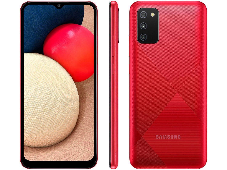 Smartphone Galaxy A02s Vermelho, 3GB RAM com Tela Infinita de 6,5