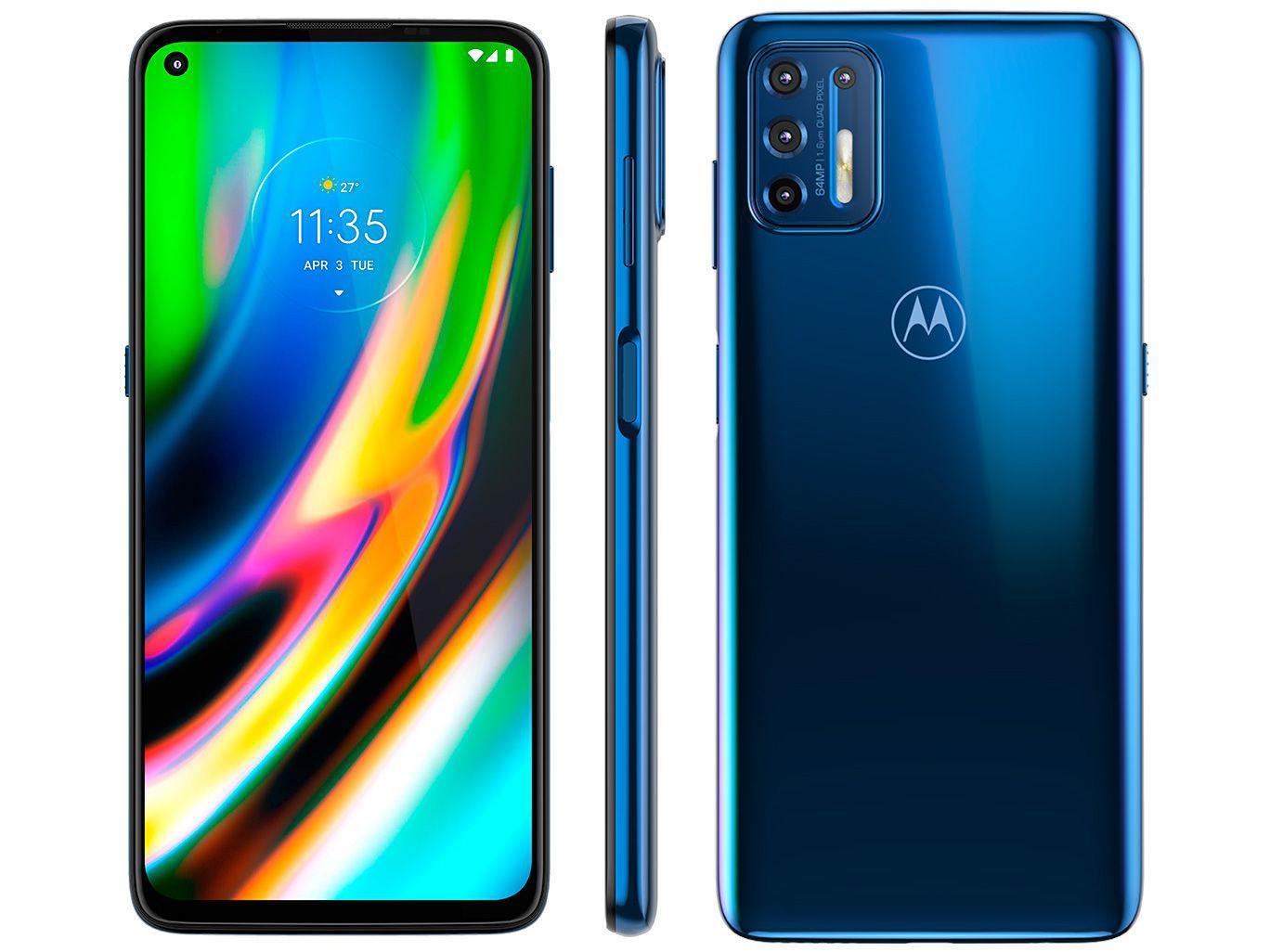 Smartphone Motorola Moto G9 Plus Azul Índigo 128gb, 4gb Ram, Tela de 6.8?, Câmera Traseira Quádrupla, Android 10 e Processador Octa-core