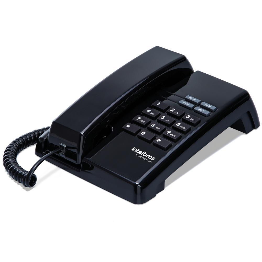 Telefone com Fio TC50 Premium Preto Ártico - Intelbras