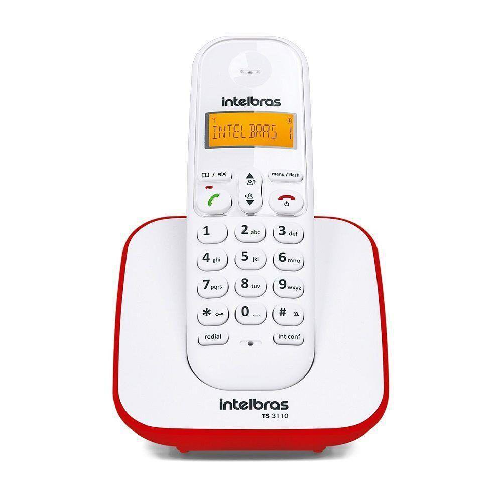 Telefone Sem Fio TS 3110 Com Identificador De Chamadas e Display Luminoso, Branco e Vermelho- Intelbras