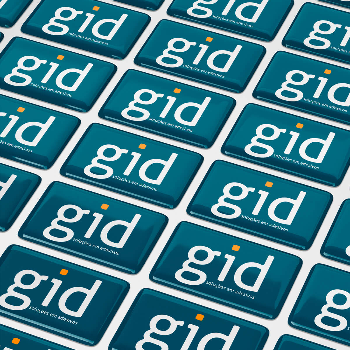 100 Etiquetas Adesivos Resinados Personalizados - 4x1,5cm