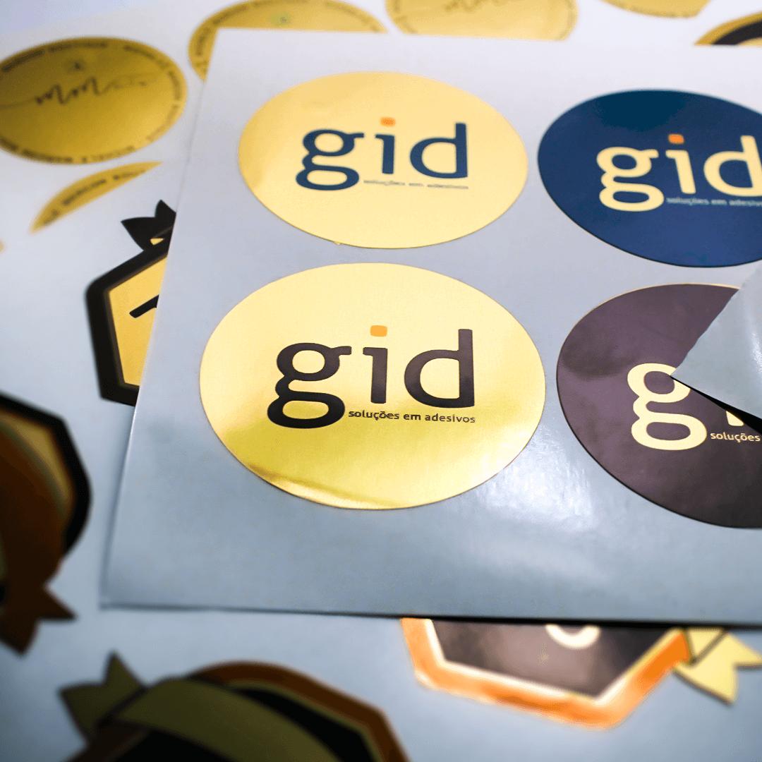 1.000 Adesivos Fecha Sacola (Dourados) Personalizados Para Loja / Comercio - 6x3cm