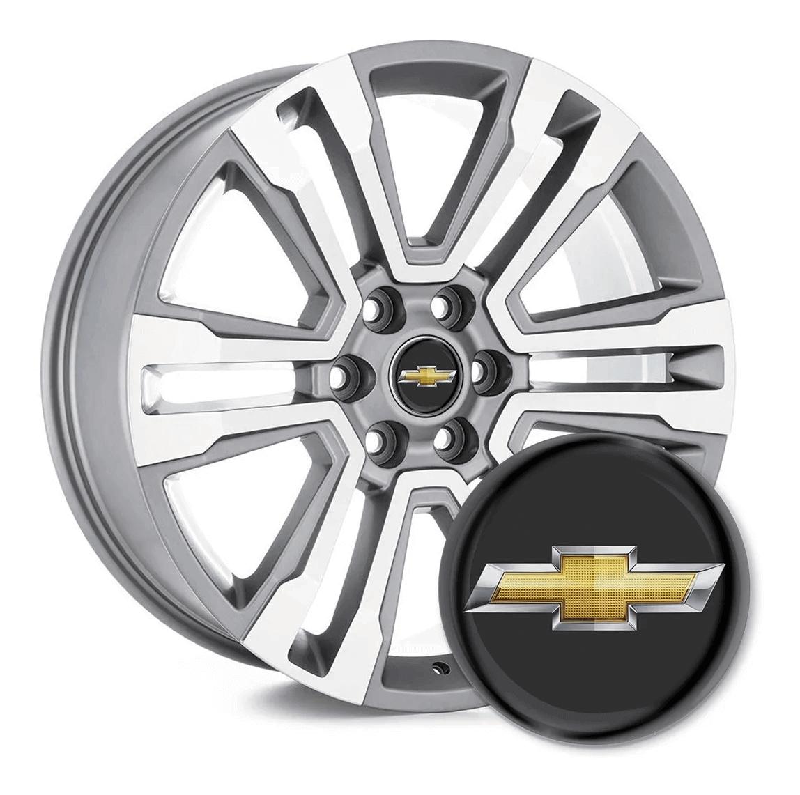 4 Emblemas Resinado Chevrolet p/ calota - 48mm