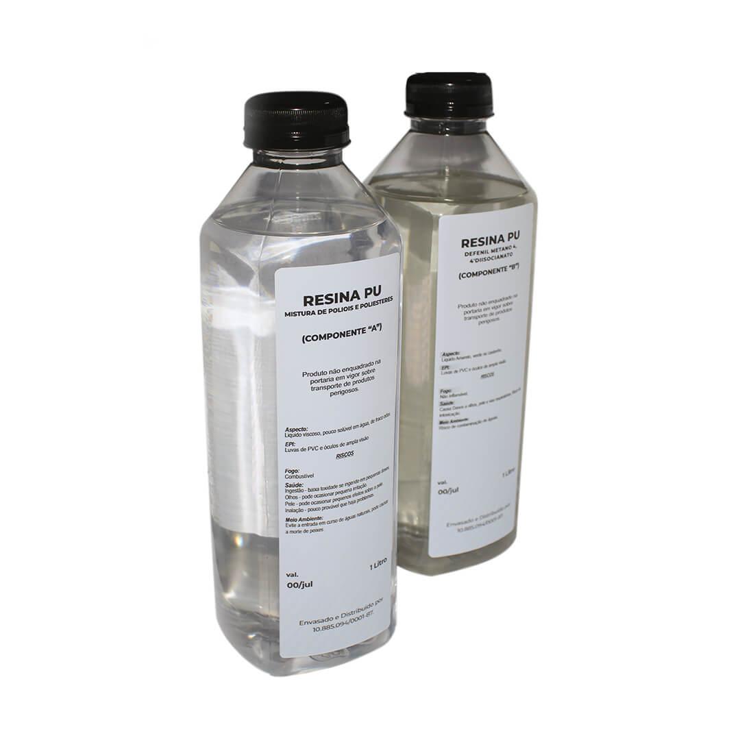 Resina Pu Transparente(não Amarela) 1l Resina + Endurecedor