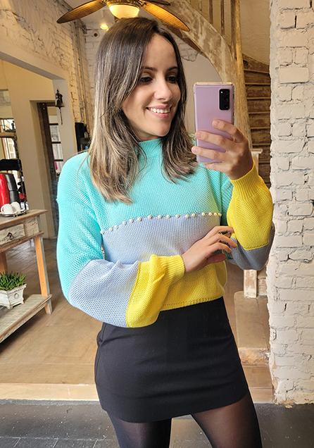 Blusa Tricot Rainbow Pérolas