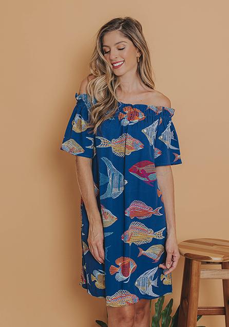 Vestido Curto Ciganinhas Peixes