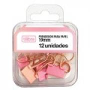 Prendedor de Papel 19mm Tilibra Rosa Pastel com 12