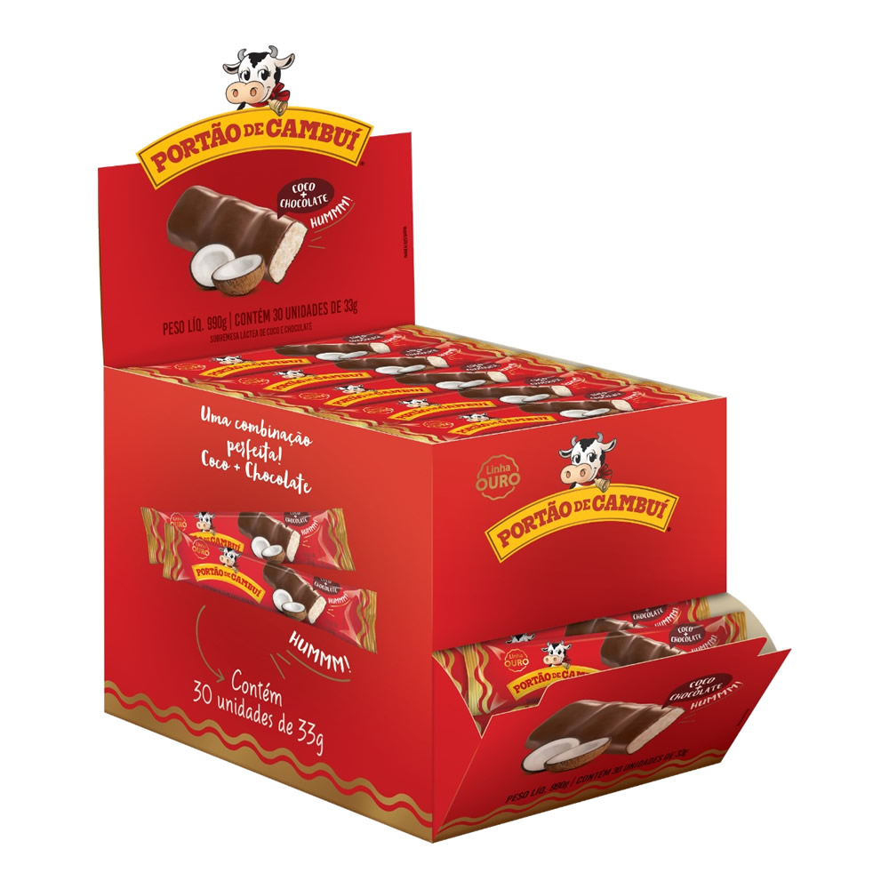 Doce de Leite com Coco Cobertura Chocolate Ouro 30x33grs