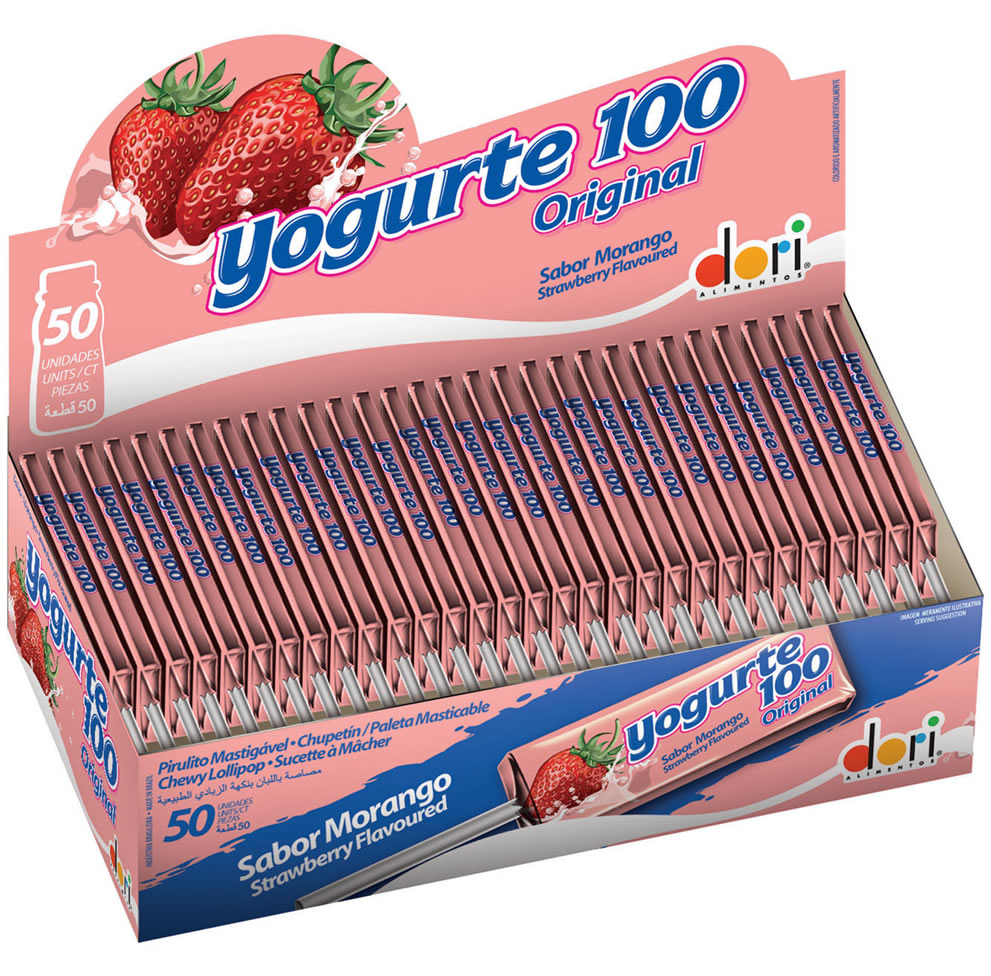 PIRULITO YOGURTE100 MORANGO MASTIGAVEL 11,2G