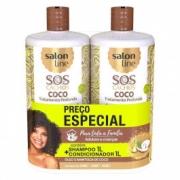 Kit SOS Cachos Coco Profundo Shampoo e Condicionador Salon Line 1L