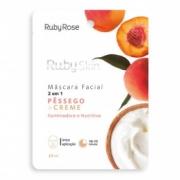 Máscara Facial de Tecido Pêssego e Creme Ruby Rose 25ml