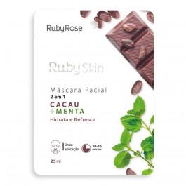 Máscara Facial de Tecido Cacau e Menta Ruby Rose 25ml