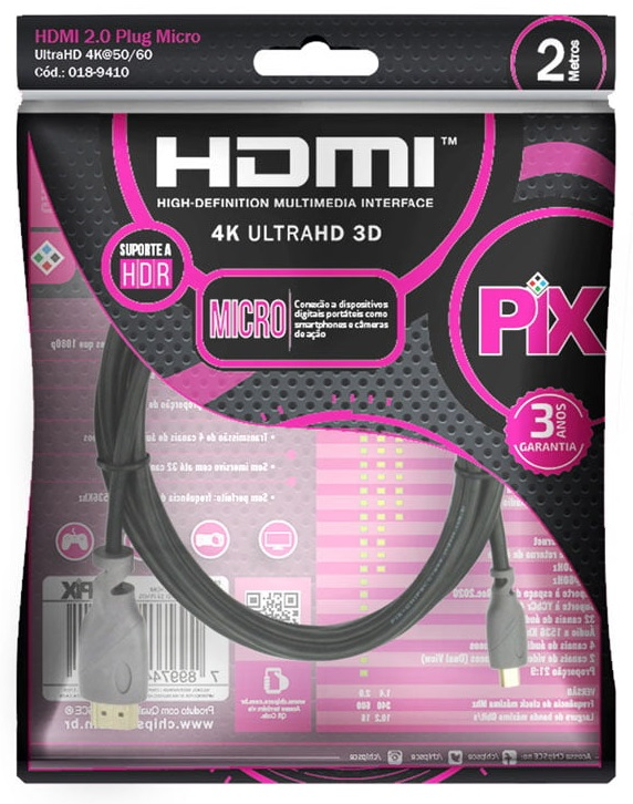 Cabo Micro Hdmi 2 Metros Blindado 2.0v Ethernet 4k 3D UltraHD 19 Pinos