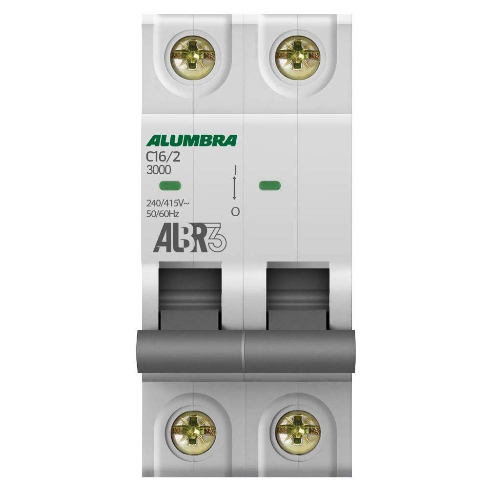 Disjuntor Bipolar 16A 3kA Curva C ALBR3 - Alumbra (Branco)