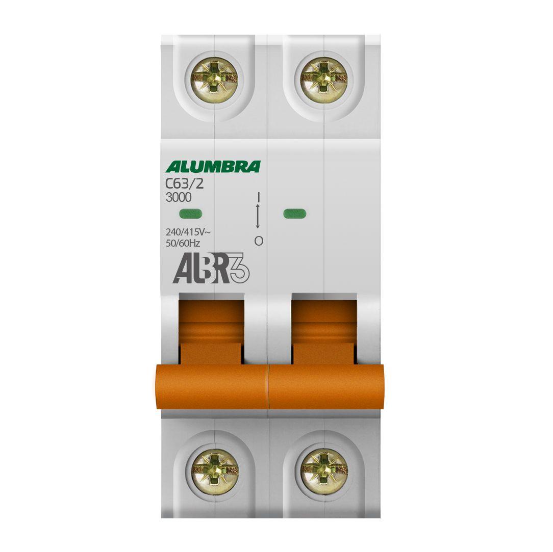 Disjuntor Bipolar 63A 3kA Curva C ALBR3 - Alumbra (Branco)