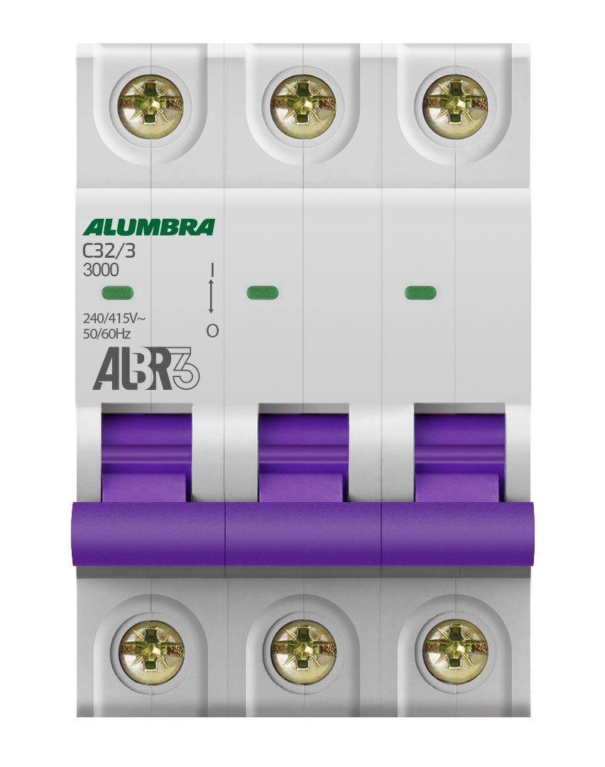 Disjuntor Tripolar 32A 3kA Curva C ALBR3 - Alumbra (Branco)